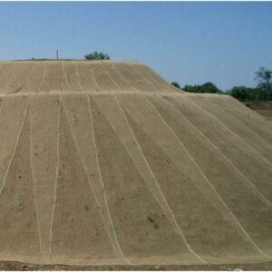 Erosionsschutzmatte Jute Netz Anwendung auf Feld