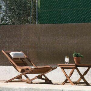 Schattiergewebe Schattiernetz Sonnenschutz 100% hinter Gartenmöbeln